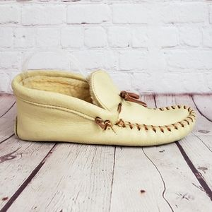 Vintage LL Bean Leather Moccasin Lined Slippers